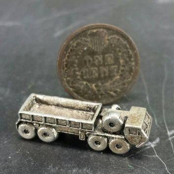 Pewter Cargo HEMTT Miniature Figurine Military Army Diorama Craft Mixed Media Altered Assemblage Art Repurpose Jewelry Supply Truck Vehicle