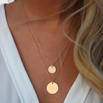 N1011 Double Layered Gold Sequin Double Strand Necklace Layering Disc Boho Necklace Beach Jewelry Bijoux