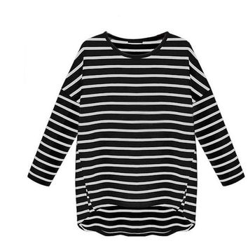 Striped Women Tops Casual Loose Full Sleeve Bottoming Shirt Korean Fashion Clothing Cotton Beauty Chemise Femme#B803