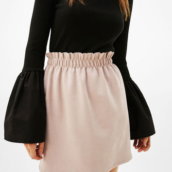 Faux suede skirt with gathered waist - Skirts - Bershka United Kingdom