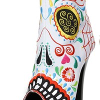 White Sugar Skull Print Ankle Boot With 6 Inch Heels