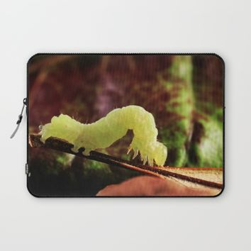 Cute And Cool Close-up Green Inchworm And Its Looping Gait Laptop Sleeve by KateLCardsNMore