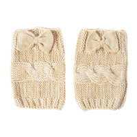 Oatmeal Knitted Bow Boot Cuff
