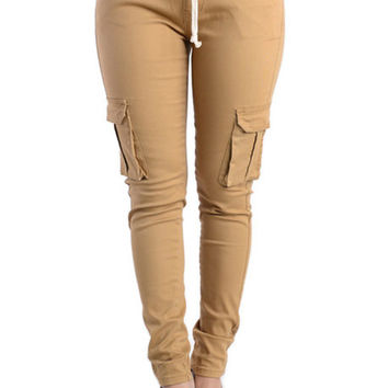 LADIES TWILL CARGO JOGGER PANTS