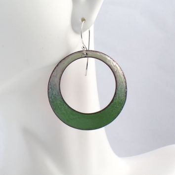 Large Hoop Earrings in Shades of Green