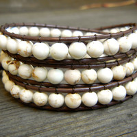 Beaded Leather Wrap Bracelet 3 Wrap with White Howlite Beads on Genuine Brown Leather Cream Bracelet for Summer