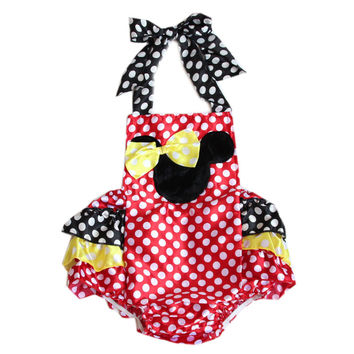 Bewborn baby girl romper Baby Girl Romper Bubble Halter Mickey Mouse Satin Fabric For Newborn Baby Toddler Girl