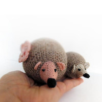 knitted woolen hedgehogs, mom and baby, cute hedgehog toy, soft toy, gift of forest, forest tales, summer, infant, boy girl
