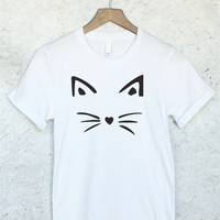 Funny Cat Face Shirt in White
