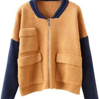 Khaki Navy Long Sleeve Pockets Zipper Knit Sweater