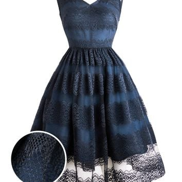 1950s Floral Mesh Lace Swing Dress