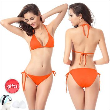 Fastest Delivery - New Arrival Sexy Women Low Waist Swimsuit Brazilian Bikini Set  Beach Bathing Suit with Halter Strap Swimwear