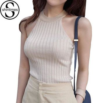 PEAPXN2 Crop Top Women 2018 Summer Tops Off Shoulder Tank Top Femme Knitted Cotton Halter Cropped Debardeur Blouses Vest  Woman Clothes