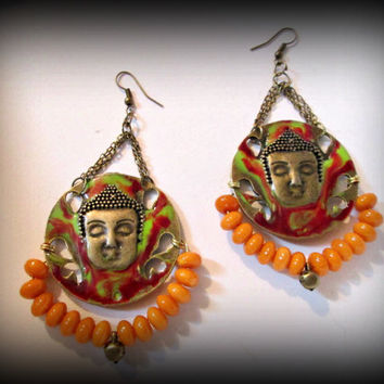 Bronze buddha earring-bronze earring-tribal dangle earring-gypsy earring-amber earring-ethnic earring-boho earring