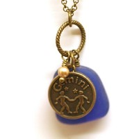 Gemini Constellation Necklace for May Birthday with Blue Sea Glass and Swarovski Pearl
