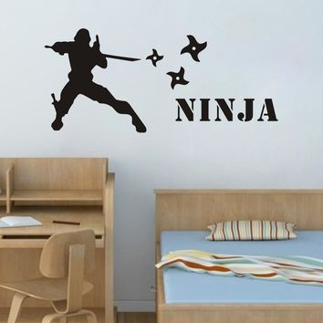 Special Cool Personalized Name Wall Sticker Ninja Murals Customized Home Decor Wall Art Decals Boys Room Vinyl Art Decoration