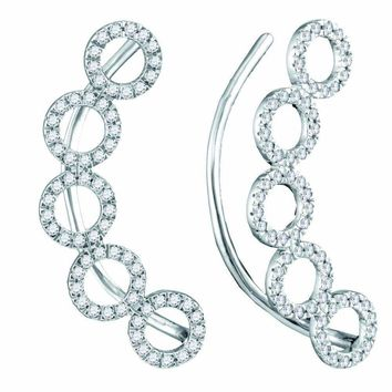 10kt White Gold Women's Round Diamond Circle Climber Curved Earrings 1-3 Cttw - FREE Shipping (US/CAN)