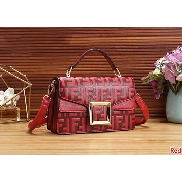 FENDI Newest Fashionable Women Leather Handbag Tote Shoulder Bag Crossbody Satchel Red