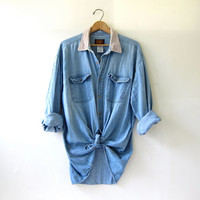 20% OFF SALE. Vintage Washed Out Denim Shirt. Button Down Jean Shirt XL