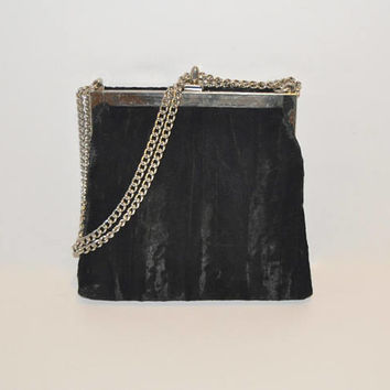 Vintage Black Crushed Velvet Evening Bag with Silver Chain Strap Square Small Purse Bag Handbag Mini Clutch Velvet Bag 1990's Dressy Handbag