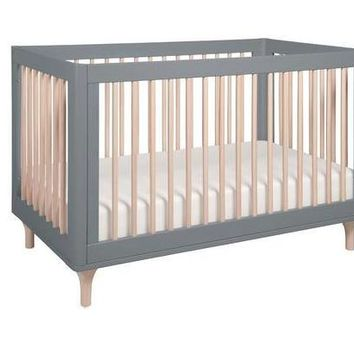 Babyletto Lolly 3-In-1 Convertible Crib With Toddler Bed Conversion Kit, Gray/Washed N
