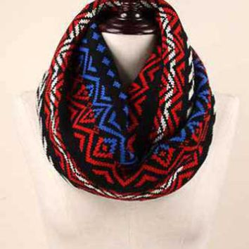 Life is Beautiful Knit Infinity Scarf with Tribal Print EANT8493-BLK