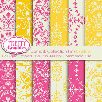 DAMASK PAPERS - Pink&Yellow - Printable Papers - Commercial Use - 12x12 JPG Files - Scrapbook Papers - High Quality 300 dpi