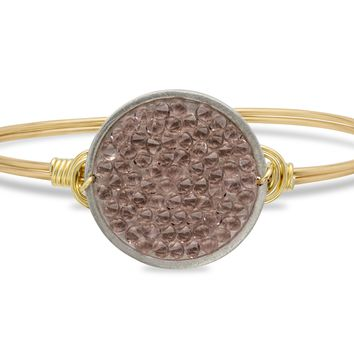 Druzy Bangle Bracelet In Metallic Rose