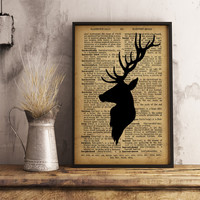 Deer Wall Art print Deer Dictionary Poster vintage style, Deer head Printable Art Hunter Gift Office Decor Buck Poster Antlers Print A23