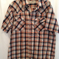 BIT & BRIDLE blue orange plaid Vintage Western pearl snap shirt XL/L