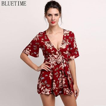Summer 2017 Women Shorts Romper Jumpsuit Boho Floral Sexy Deep V Playsuit Short Body Beach Leotard Overalls Coveralls Clothes 12