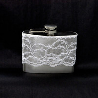 4oz Stainless Steel Hip Flask with pretty white lace wrap