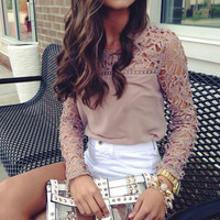 Brand New Hollow Out Summer New Chiffon Embroidered Lace Stitching Shirt Long-Sleeved Shirts Women Blouses Plus Size 4XL