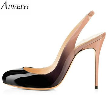 AIWEIYi Round Toe Women High Heels Pumps Leopard Print Platform Pumps Spring Slingback Patent Leather Evening Party Shoes