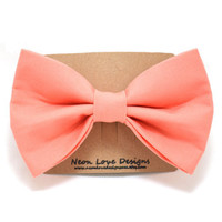 Peach Hair Bow Barrette by NeonLoveDesignsAcc on Etsy