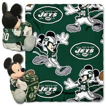 "NEW YORK JETS 40""X50"" DISNEY MICKEY MOUSE HUGGER PILLOW & THROW BLANKET SET NEW"