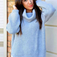 Scenic Escape Oversized Sweater - Sky Blue