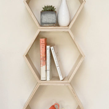 For the Modern Mom // Natural Finish Floating Honeycomb Shelves: Set of 3