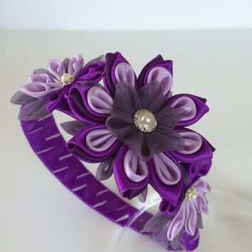 Girl headband - kanzashi girl headband - Kanzashi flower headband - bow headband - toddler headband - hair accessories - women headband.