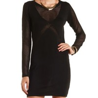 Black Mixed Stitch Bodycon Sweater Dress by Charlotte Russe