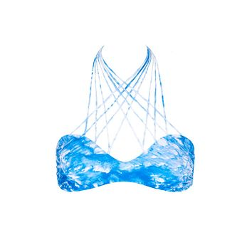 Kahala Stringy High Neck Bikini Top - Whitewater Fiji Blue Tie Dye Print