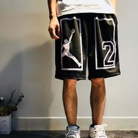 Jordan New Fashion Sports Running Print Number 2 Shorts C-AA-XDD Black