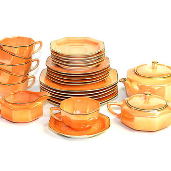 Peach Luster Steubenville China Tea Serving Set (26 Pieces) - Antique 1920's Octagonal Art Deco Lusterware - Orange, Black Trim on Porcelain