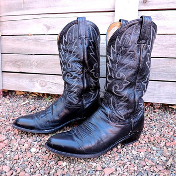 Vintage 70s Dan Post cowboy boots Mens 10 D / black leather / western boots