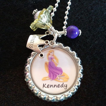 Rapunzel Necklace, Little Girl's Necklace Princess Tangled PERSONALIZED Charm Jewelry Disney Children, Stocking, Black Friday, Princess