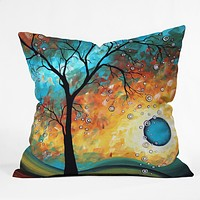 Madart Inc. Aqua Burn Throw Pillow