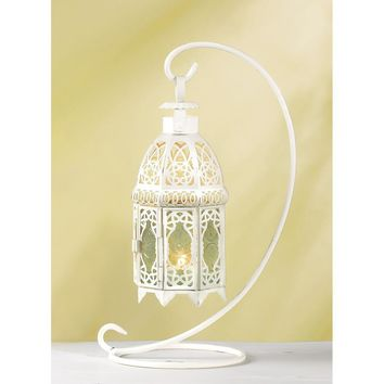 Victorian White Lace Hanging Candle Lantern With Stand