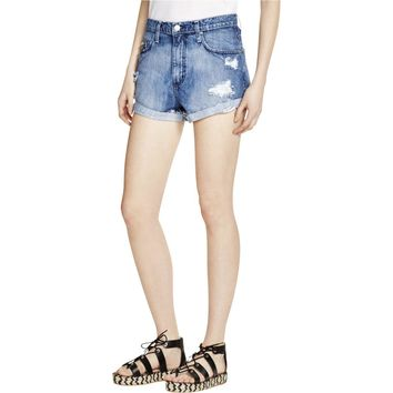 Nobody Womens Super High-Rise Destroyed Denim Shorts