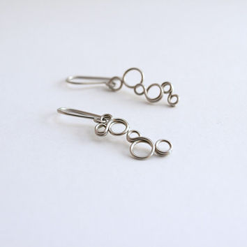 Circle dangle earrings, stainless steel  bubbles earrings
