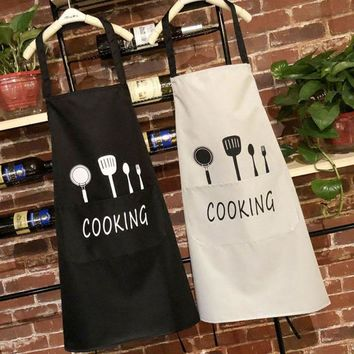 Nordic Style Apron Knife and fork Print Brief Adult Water and Oil Proof Apron Kitchen Restaurant Cooking Bib Aprons with Pocket